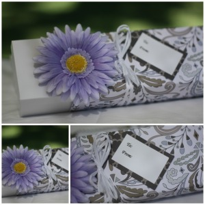 gift box collage purple